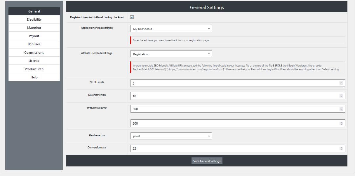 |'Wordpress'| |'letscms'| |'Unilevel mlm WooCommerce plan'| |'general settings'| |'mlm settings'| |'settings'| |'mlmtrees.com'| |'mlm plan'| |'umw plan'| |'umw'| |'wordpress mlm plan'|